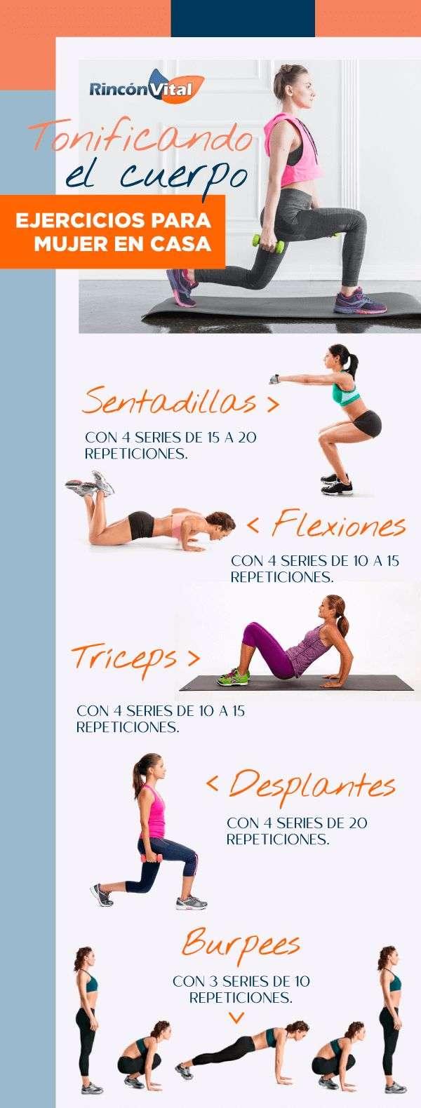 Rutina de ejercicios para mujer en casa